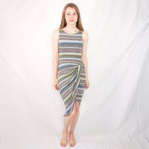 Bailey 44 Striped Twist Midi Dress Gray Color 0345